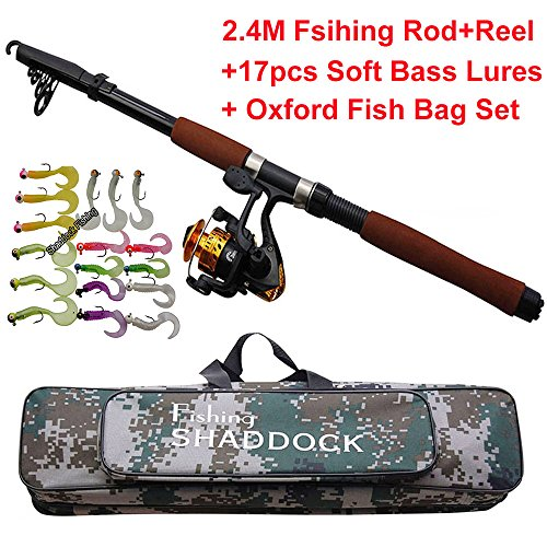 Shaddock Fishing Spin Spinning Fishing Rods and Reels Combos Waterproof Fishing Travel (Bass Fishing Rod Blank)