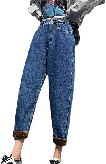 gawaga 女性スリムフィットジーンズ冬厚いハイウエストルーズストレッチジーンズ
