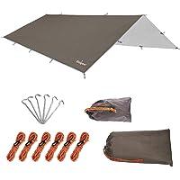 Unigear tentzeil, tarp voor hangmat, waterdicht met oogjes + 6 haringen + 6 kabels, regenbescherming, zonwering voor…