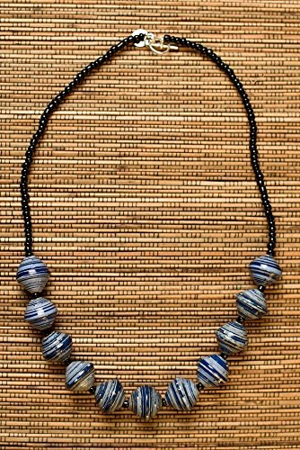 Paper Bead Chunky Asali Necklace – Blue – Fair Trade BeadforLife Jewelry from Africa