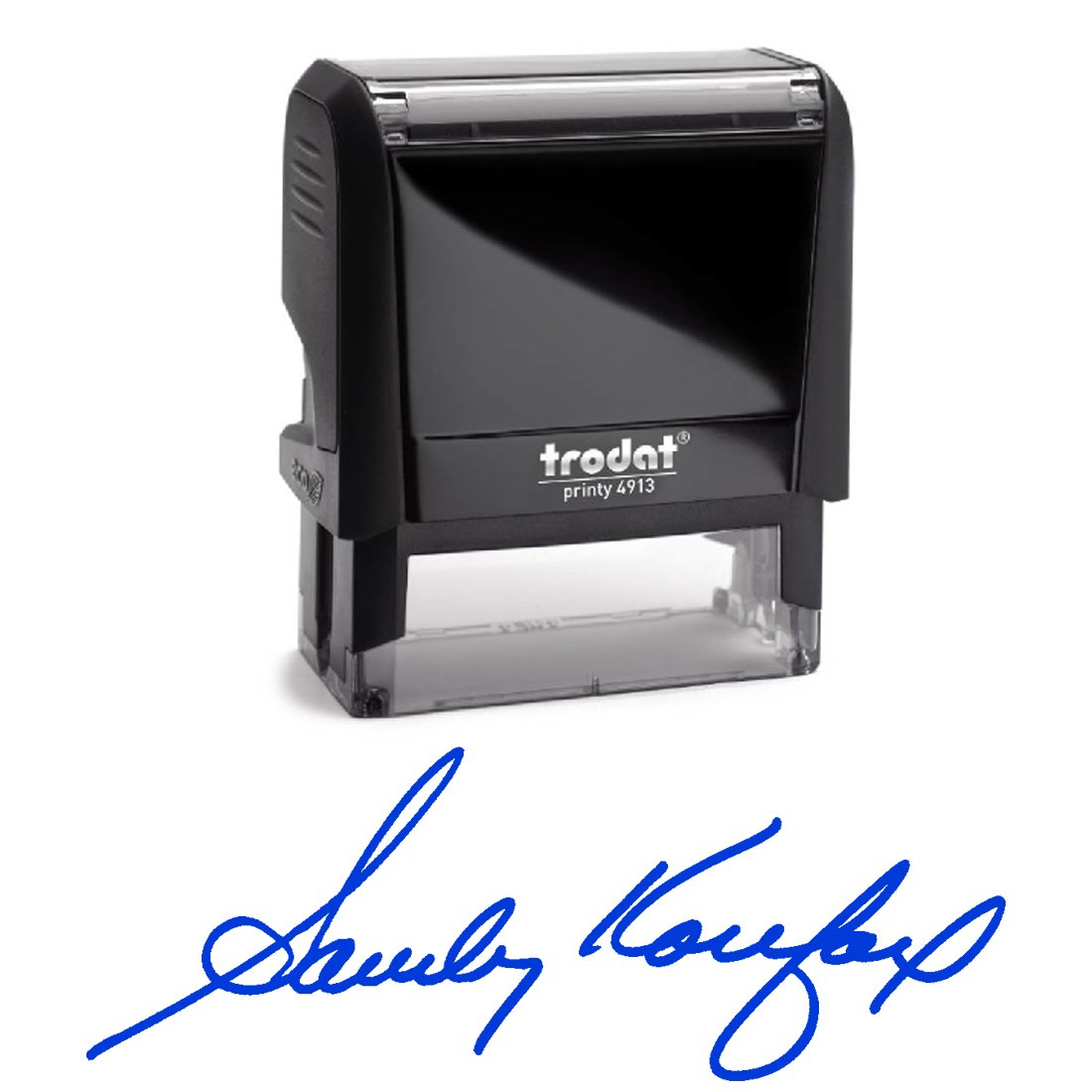 Blue Ink, Signature Stamp, Self Inking. Your Own Signature Customized into the Best Quality Stamper. Great For Regular Signing. Color Options Available. Sign Off Checks, Contracts, Certificates