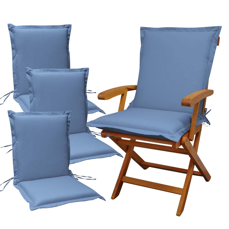 Indoba 4 x Sitzauflage Niederlehner Premium Polsterauflagen Blau