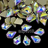 AD Beads Top Czech AB Crystal Multi-Shape Flatback Rhinestone Nail Art Decoration DIY (100 Pcs, 19. Diamond 6x9mm)