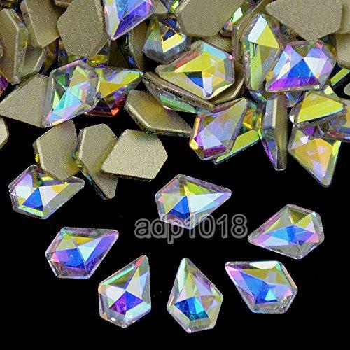 AD Beads Top Czech AB Crystal Multi-Shape Flatback Rhinestone Nail Art Decoration DIY (100 Pcs, 19. Diamond 6x9mm) by AD Beads