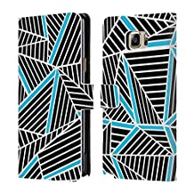 Official Project M Electric Abstract Lines Two Tone Leather Book Wallet Case Cover For Samsung Galaxy Note5 / Note 5