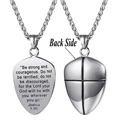 Amazon shield of faith pendant chain 22 inch stainless steel shield of faith pendant chain 22 inch stainless steel joshua 19 cross amulet necklace aloadofball Choice Image