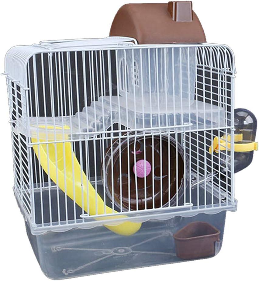 Jaula de alambre de hierro con forma de Villa de doble capa con cuenco para alimentación, juguete deslizante para hámster de mascotas, marrón, 23*17*28cm