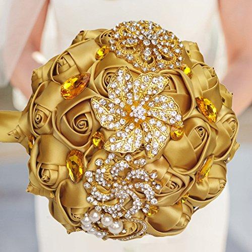 FYSTORE Bride Bridesmaids Bouquet Crystal Rhinestone Brooch Wedding Bouquets Brides Bridesmaids Hand Holding Flower 18cm/ 7 inch Gold