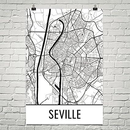 Amazon Com Seville Print Seville Art Seville Map Seville Spain
