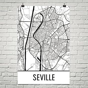 Modern Map Art Sevilla-Print, Sevilla Kunst, Sevilla Karte ...