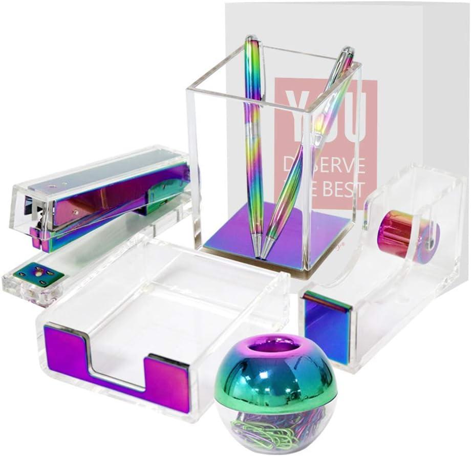Multibey Rainbow Acrylic Office Supplies for Women Tape Dispenser Stapler, Pen Pencil Holder, Magnetic Paper Clip Dispenser, Sticky Note Holder Desk Accessories Organizer Stationery Kit Set (Colorful)