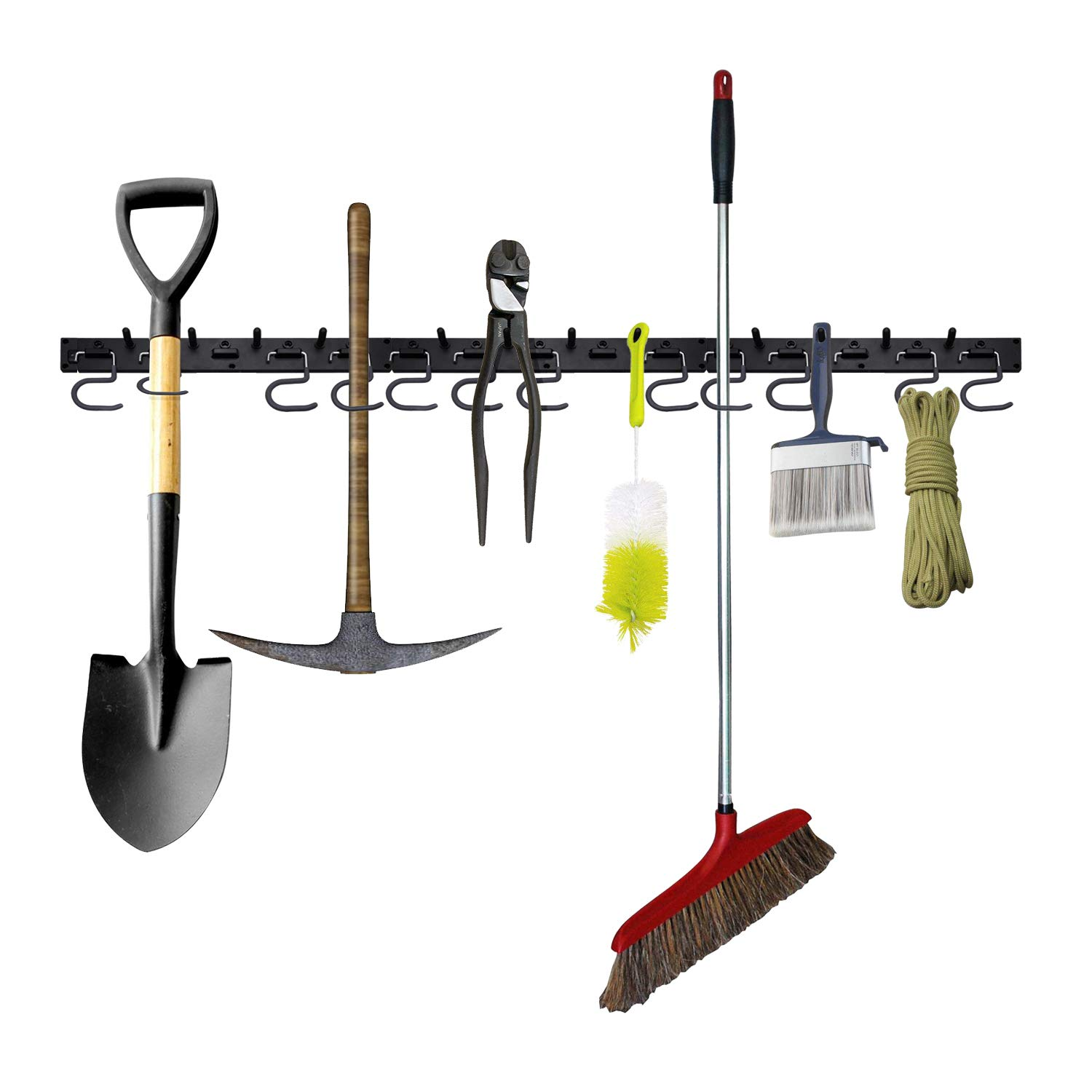 Adjustable Storage System 48 Inch, Wall Holders for Tools, Wall Mount Tool Organizer, Garage Organizer, Garden Tool Organizer, Garage Storage