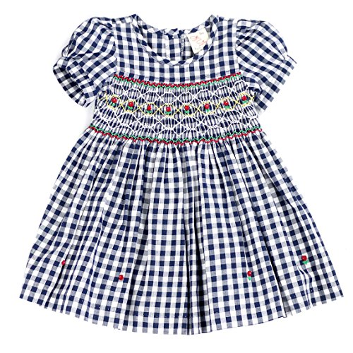 THE SILLY SISSY sissymini - Infant and Toddlers (9-12M - 4T) Hand Smocked Dress | Remy Redmond's Plaid (Navy Gingham, 3T) (Gingham Dress Navy)