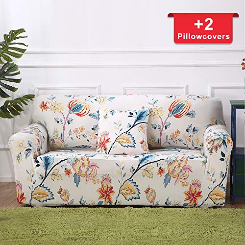 - Hipinger Spandex Fabric Stretch Couch Cover Sofa Slipcover Stylish Furniture Protector for 2 Cushion Couch Lovesaet (Loveseat/ 2 Seater, Floral Pattern)