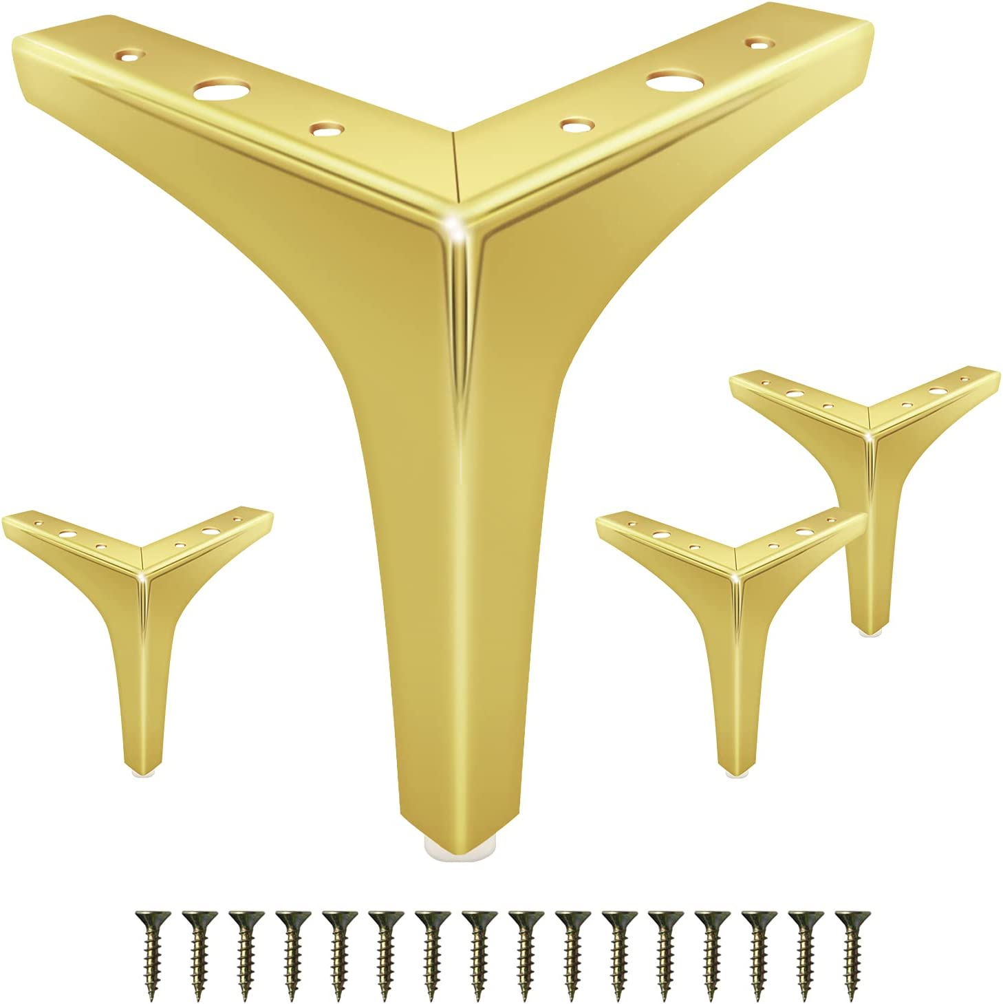 GOSCHE 6 Inch Furniture Legs Gold, Metal Sofa Legs Set of 4, Modern Style Replacement Couch Legs for Dresser Chair Bed Cabinet Table Ottoman Cupboard DIY Replacement Feet