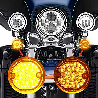 3-1/4 Inch Front Led Turn Signal Flat Smoke Lens 1157 Base Amber Lamp for Harley Motorcycle Road Glide Road King Softail Ultra Classic Ultra Limited Electra Glide (1157 Front, Amber): Automotive