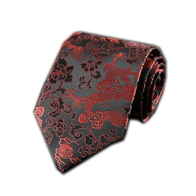 798e9085eab8 Men's Chinese Dragon Silk Tie Best Necktie Neckwear Black Red Gold Dragon