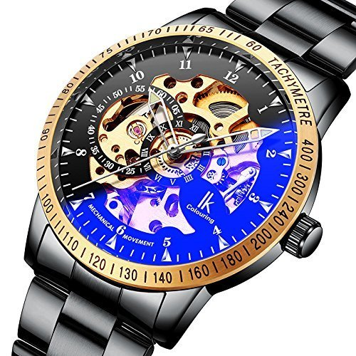 GuTe Steampunk Golden Bezel Automatic Mechanical Wrist Watch Mineral Glass Black Steel (Band Bezel Wrist Watch)