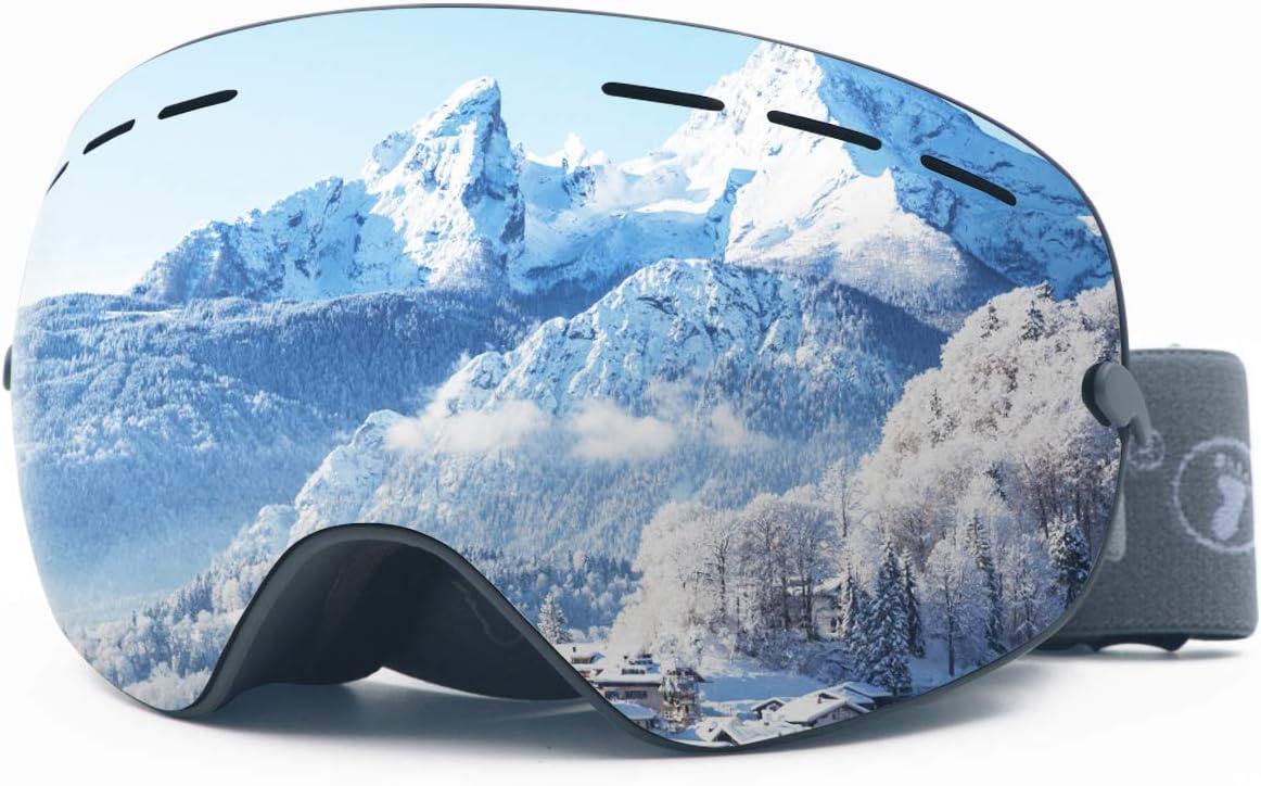 ROCONTRIP Occhiali da Sci Super-Grandangolo Lente Sferica a Doppia Strato per Donna e Uomo per Sport Invernali con antinebbia e Trattamento di Protezione UV400 Occhiali da Snowboard