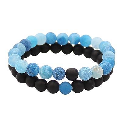 0ea4b36a7532 Parejas Su y su pulsera Ágata mate negra y coloridas intemperie Scrub Ágata  8mm perlas Por