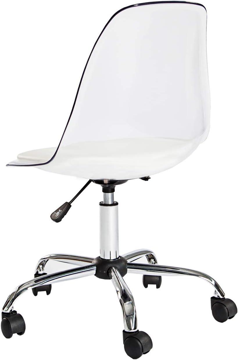 Dunord Designer Office Chair Office Chairs Clear Transparent Faux Leather Retro Style Desk Chair Amazon De Kuche Haushalt
