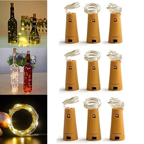 9 Pieza LED botellas velas de luz Estado de Ánimo de alambre de cobre Cork forma