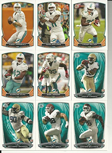 2014 Bowmans Best Football - Miami Dolphins 2014 Bowman NFL Football Complete Regular Issue 9 Card Team Set made by Topps Including Ryan Tannehill, Jarvis Landry Plus