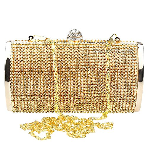 Gold Events Ladies Box Glitter Clutch Case Wocharm Gold Bag Hard Handbag Wedding Silver Diamante Evening Glitz aR4xnqS