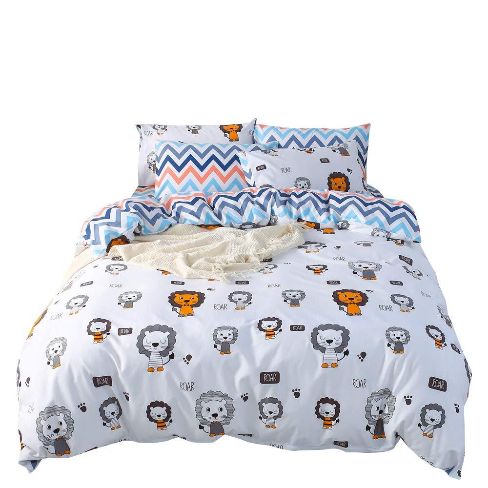 BuLuTu Lions Print Bedding Sets Animal Duvet Cover Set Twin White Multi-Color,3 Pieces Reversible Chevron Stripes Duvet Cover Boys Girls,Soft,Hypoallergenic,White Grey Yellow Blue,No Comforter