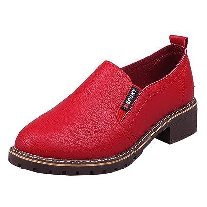 Mocasines con Punta Redonda y tacón Alto para Mujer (Color : Rojo, tamaño :