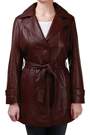 e5eaff03f86 Women's ¾ Long Brown Leather Trench Coat With Belt Tie at Amazon ...