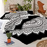 Madhu International Black White Mandala King Size Duvet Cover, 100 % Cotton Handmade Indian Mandala Reversible Duvet Cover With Pillowcases, Bohemian Bedspread Throw Quilt Cover