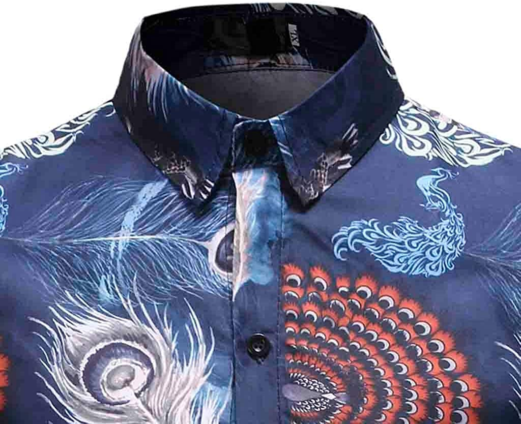 Outique Mens Floral Shirt Long Sleeve 70s Printed Casual Button Down Dress Shirts Prom Wedding Party Tops Blouse