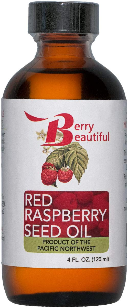 Red Raspberry Seed Oil - Cold Pressed by Berry Beautiful from locally grown Raspberries - 100% Pure & Unrefined (4 fl oz)