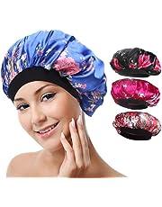 Aniann 4 Pack Soft Satin Sleeping Cap Wide Band Salon Bonnet Silk Night Sleep Hat Hair Loss Cap for Women, 4 Styles