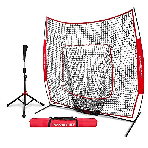 PowerNet Baseball Softball Practice Net 7x7 with Deluxe Tee (Red) | Practice Hitting, Pitching, Batting, Fielding | Portable, Backstop, Training Aid, Large Mouth, Bow Frame | Training Equipment Bundle (Top 10 Home Run Hitters Of All Time)