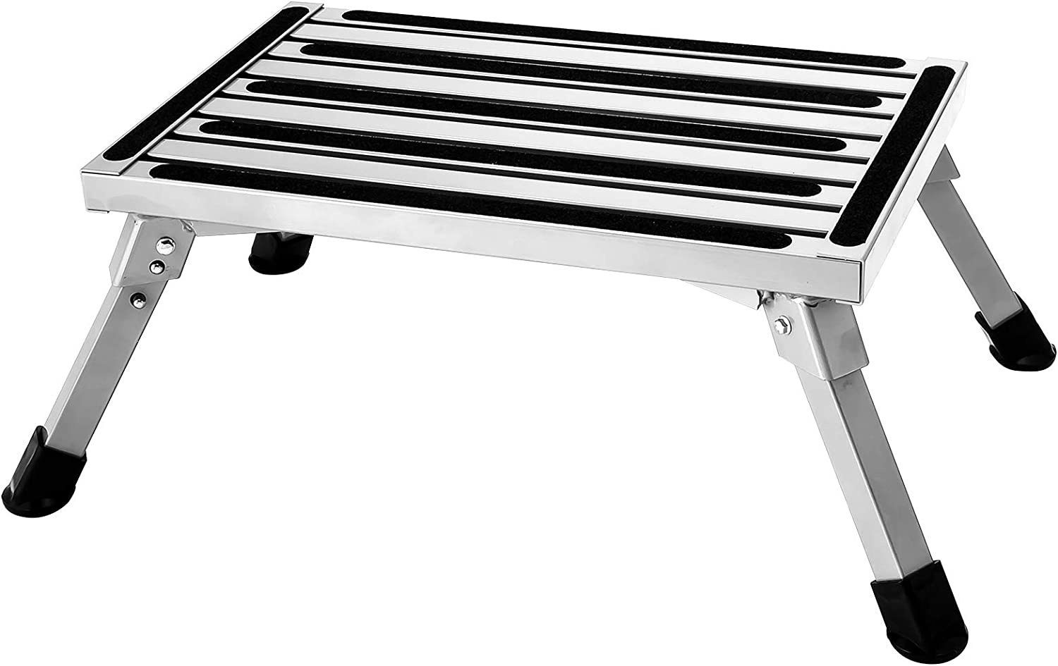 Aluminum Folding Platform Steps RV Step Stool with Anti-Slip Surface & Rubber Feet for Motorhome,Traile, SUV, 440LBS Capacity
