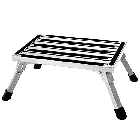 Stupendous Aluminum Folding Platform Steps Rv Step Stool With Anti Slip Surface Rubber Feet For Motorhome Traile Suv 440Lbs Capacity Alphanode Cool Chair Designs And Ideas Alphanodeonline