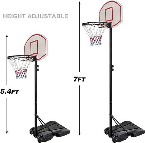WOOCF Height-Adjustable Basketball Stand Backboard Hoop Net w//Wheels for Kids//Youth Indoor Outdoor Portable Sports Basketball Goals Height 5.4-6.9Ft