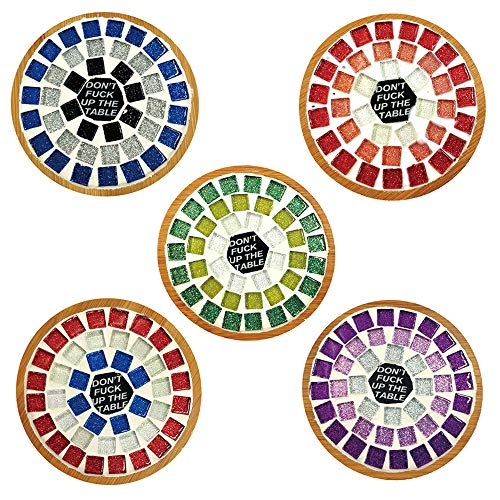 Mosaic Tiles Kits for Crafts Adult Coasters Mosaic Supplies for Housewarming Gift Don't Fuck Up The Table by Mosaic Joy (Round -