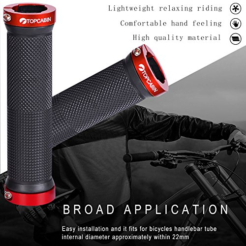 TOPCABIN Bicycle Grips,Double Lock on Locking Bicycle Handlebar Grips Rubber Comfortable Bike Grips for Bicycle Mountain BMX (Red) by TOPCABIN (Image #3)