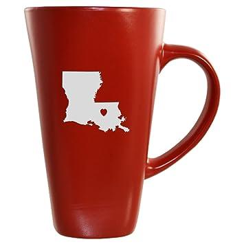 Louisiana State Outline Heart 16 Oz Tall Ceramic Coffee Mug Red