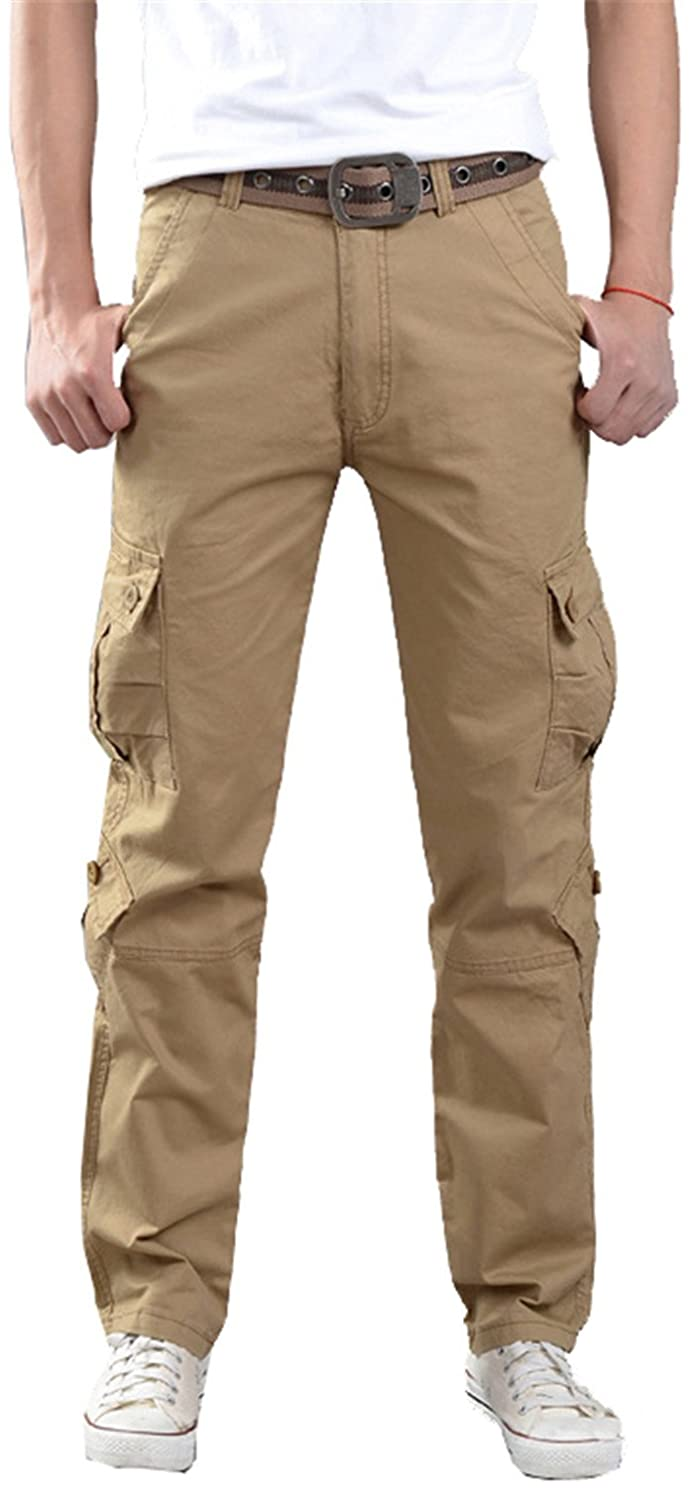 83c977382ad Wsirmet Men s Relaxed Fit Straight Leg Sport Casual Multi-Pockets Cargo  Pants at Amazon Men s Clothing store