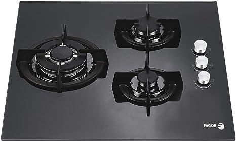 Fagor 7CFI-3GLSTA - Placa crystal gas 60cm vidrio negro: Amazon.es ...