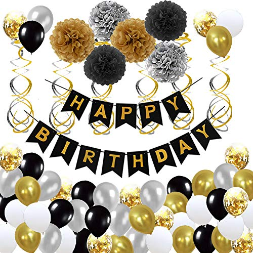 Little Man Party Supplies (Happy Birthday Decorations for Men, Women, Boys, Girls - Hulaso Black and Gold Birthday Party Supplies for 16th 18th 21st 30th 50th 60th with HAPPY BIRTHDAY Banner, Pom Poms and)