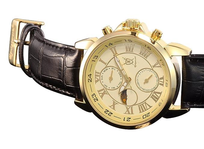 Amazon.com: Konigswerk Mens Gold Tone Watch Black Leather Strap Roman Numerals Reloj de Oro Hombre AQ202468G: Konigswerk: Watches