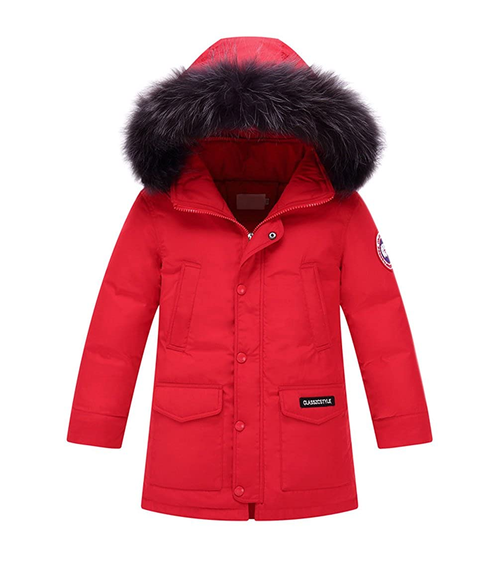 Tortor 1bacha Kid Boy Girl Faux Fur Hooded Winter Down Coat Long Jacket 9923