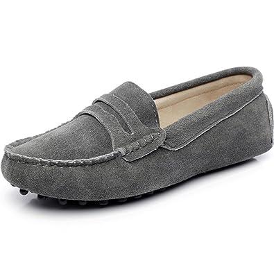 Generic Damen Mode Schlüpfen Mokassins Beiläufig Wildleder Halbschuhe Schuhe 24208(grau,EU38)