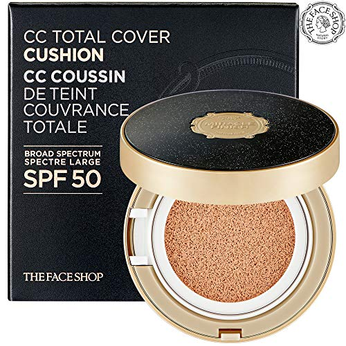 ([THEFACESHOP] Miracle Finish CC Total Cover Cushion Set (Cushion + Refill), High Coverage, Brightening, Broad Spectrum SPF 50, V201 (30G / 1.04 OZ) )