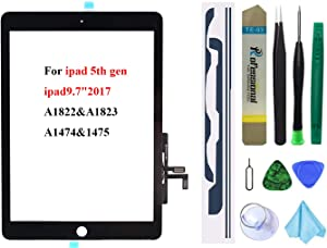 Black Touch Screen Replacement for iPad 5 2017 9.7 inch, A1822 A1823 A1474 A1475 Digitizer Glass Assembly Without Home Button (not Include LCD) + Pre-Installed Adhesive + Tool kit